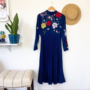 ASOS Blue Floral Embroidered Pleated LS Dress